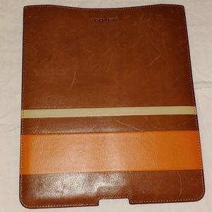 Leather Coach I Pad Case
